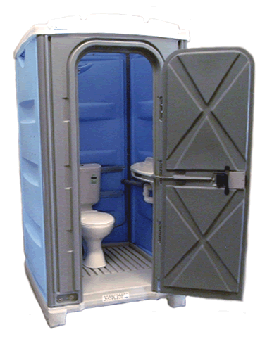 Alltoilets (WA) Merlin Executive Sewer Connect Portable Toilet Open Door